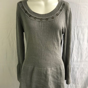 Women's Gray Peplum Top with Ring Accents